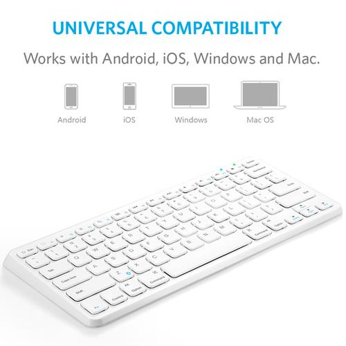 Anker Ultra Slim Wireless Bluetooth Keyboard - White