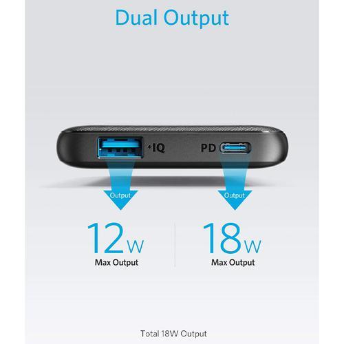 Anker PowerCore Slim 10,000mAh USB-C Portable Power Bank - Black