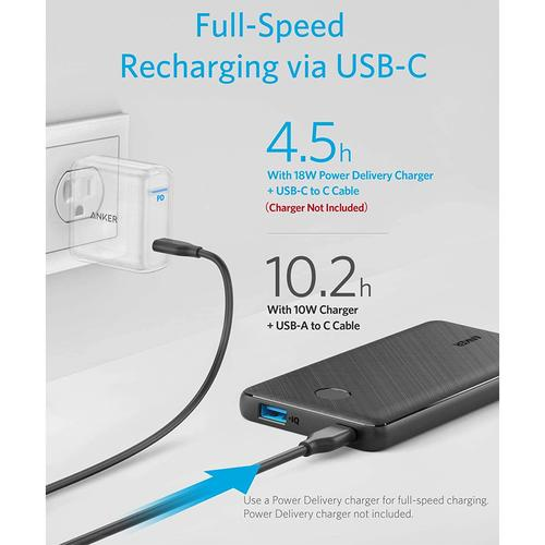 Anker PowerCore Slim 10,000mAh USB-C Portable Power Bank - Black