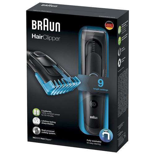 Braun Rechargeable Hair Trimmer Clipper (HC5010) - Black