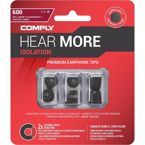 Comply Isolation T-600 Foam Ear Tips - Black - Medium (3 Pairs)
