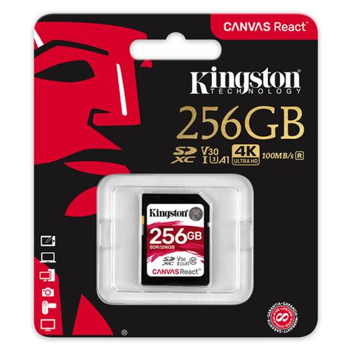 Kingston 256GB Canvas React SD Card (SDXC) - 100MB/s