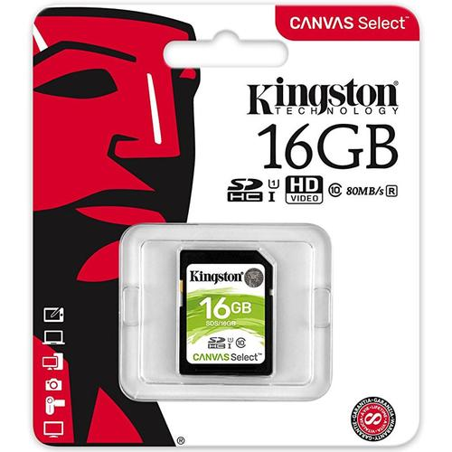 Kingston 16GB Canvas Select SD Karte (SDHC) - 80MB/s