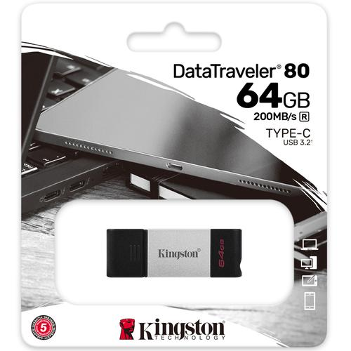 Kingston 64GB DataTraveler 80 USB-C 3.2 Gen 1 Flash Drive - 200MB/s