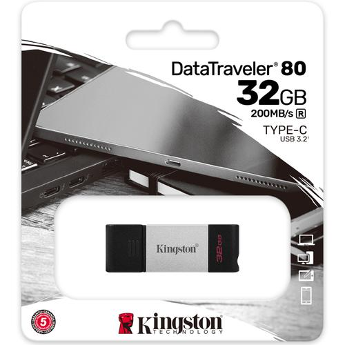 Kingston 32GB DataTraveler 80 USB-C 3.2 Gen 1 Flash Drive - 200MB/s