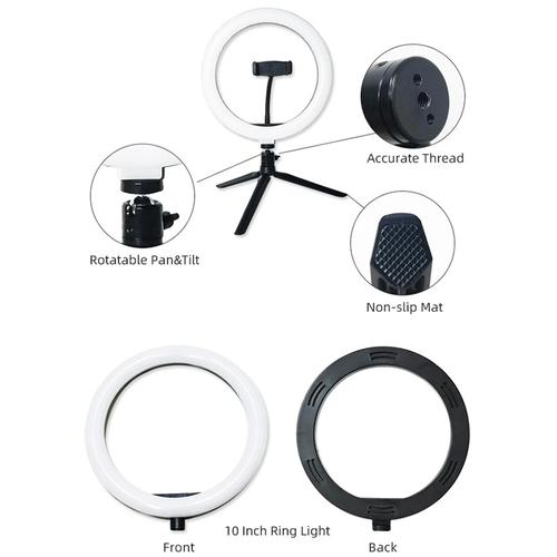 """Dimmable LED Ring Light 10"""" USB with Tripod Stand and Phone Holder"""
