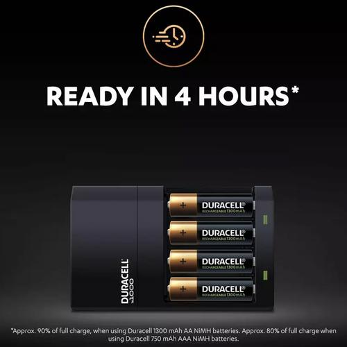 Duracell 4 Hour AA and AAA Battery Charger with 2 xAA & 2xAAA Batteries