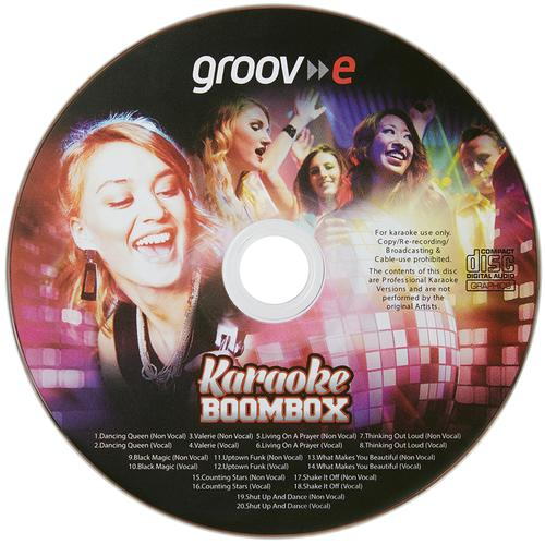 Groov-e Portable Karaoke Boombox with CD Player and Bluetooth Playback - Black