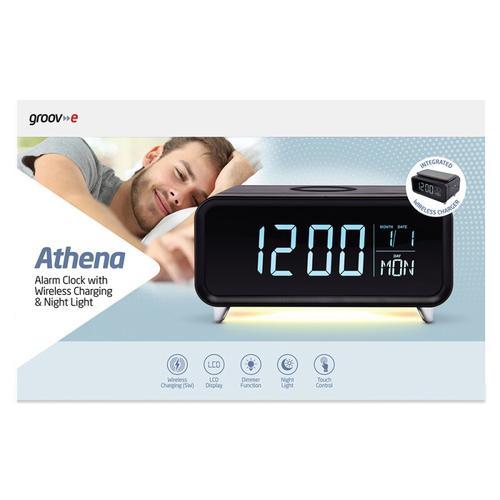 Athena Alarm Clock with Wireless Charging Pad & Night Light - Black