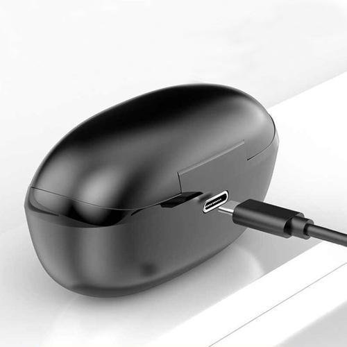 HKT-6 TWS Bluetooth 5.0 Wireless Earphones IPX6 with Charging Case - Black