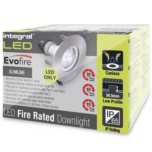Integral Evofire 70mm cut-out Fire Rated Downlight + GU10 Holder - Satin
