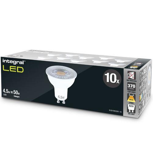Integral GU10 LED Bulbs PAR16 4.5W (50W) 2700K (Warm Light) Non-Dimmable Lamp - 10 Pack