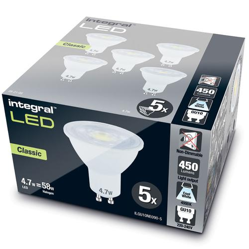 Integral GU10 LED Classic Bulb PAR16 4.7W (56W) 4000K (Cool White) Non-Dimmable Lamp - 5 Pack