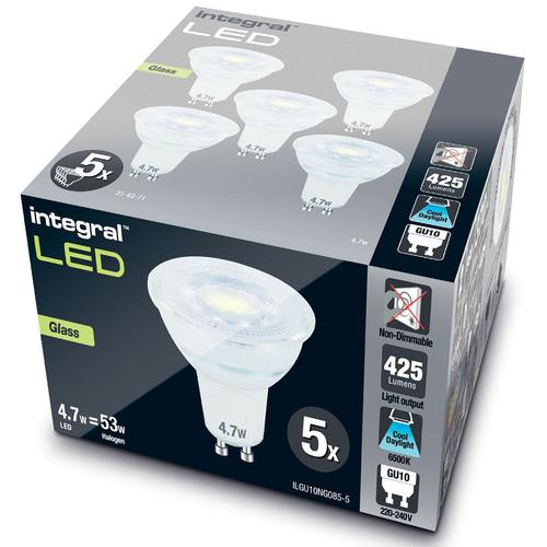Integral GU10 LED Glass Bulb PAR16 4.7W (53W) 6500K (Cool Daylight) Non-Dimmable Lamp - 5 Pack
