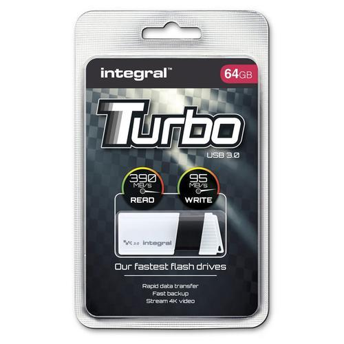 Integral 64GB Turbo USB 3.0 Flash Drive - 400MB/s - White