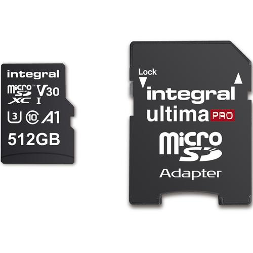 Integral 512GB UltimaPRO A2 V30 High Speed Micro SD Card (SDXC) UHS-I U3 + Adapter - 180MB/s