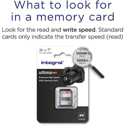 Integral 64GB UltimaPRO V30 Premium SD Card (SDXC) UHS-I U3 - 100MB/s