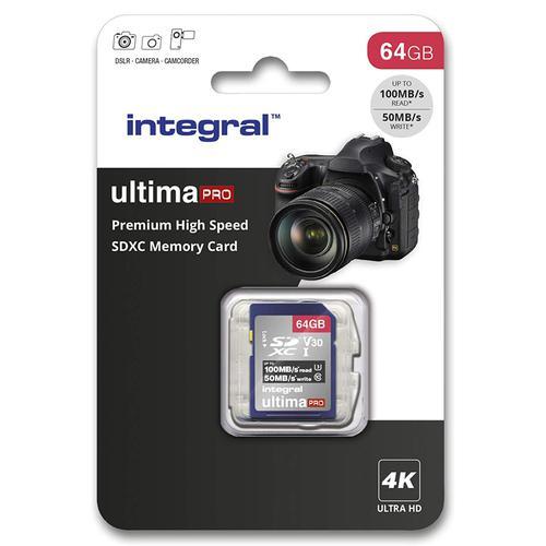 Integral 64GB UltimaPRO V30 Premium SD Karte (SDXC) UHS-I U3 - 100MB/s
