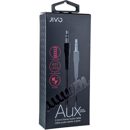 Jivo 3.5mm Jack to Jack Coiled Aux Cable - Black