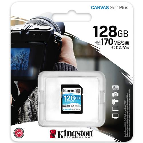 Kingston 128GB Canvas Go Plus SD Card (SDXC) UHS-I U3 V30 - 170MB/s