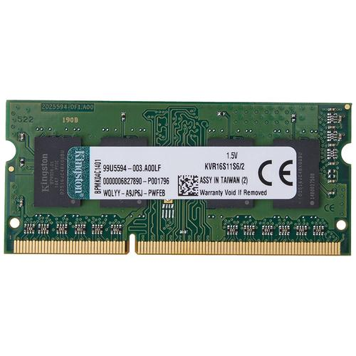 Kingston ValueRAM 2GB 1600MHz DDR3 Non-ECC 204-Pin CL11 SODIMM Laptop Memory Module