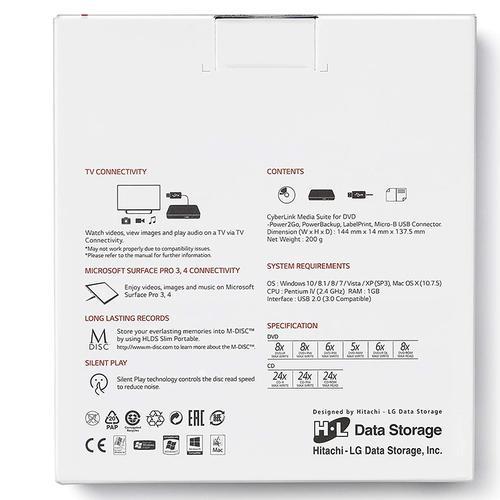LG Hitachi 8x Ultra Slim Portable USB 2.0 DVD-Writer - Black