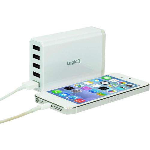 Logic3 Portable Hi-Power 5-Port USB Smart Charger - White