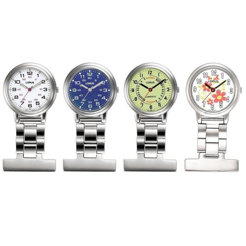 Lorus Nurses Fob Watch - Silver with Yellow Dial