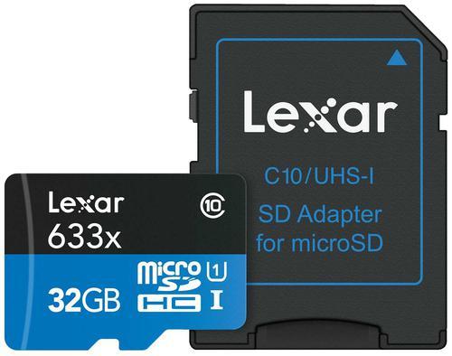 Lexar 32GB High-Performance Micro SD Card (SDHC) + Adapter - 100MB/s