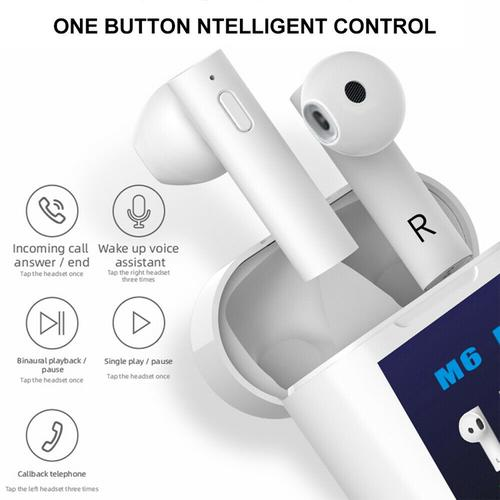 M6 Plus TWS Wireless Earphones Bluetooth 5.0 with Charging Case & Thermometer - White