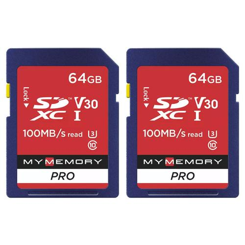 MyMemory 64GB V30 PRO SD Card (SDXC) UHS-1 U3 - 2 Pack - 100MB/s