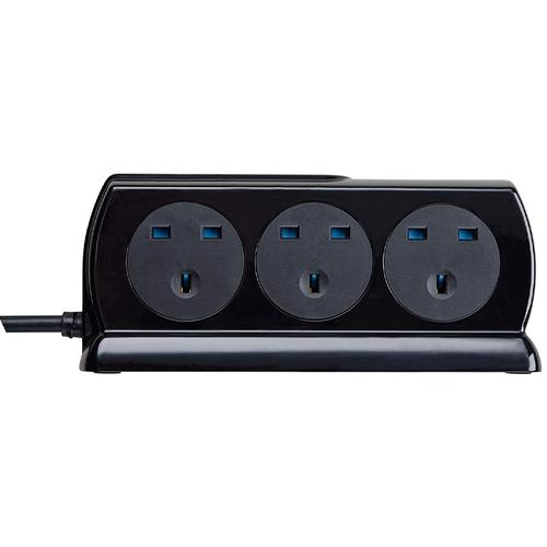 Masterplug 6 Socket 2M Surge Protected 2x USB Extension Lead - Gloss Black