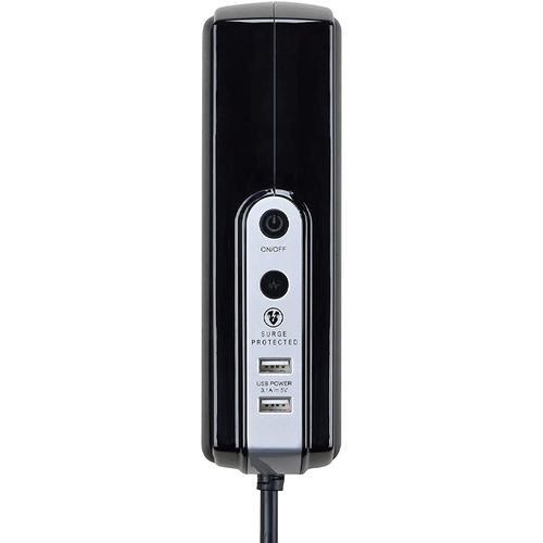 Masterplug 6 Socket 2M Surge Protected 2x USB Extension Lead - Gloss Black
