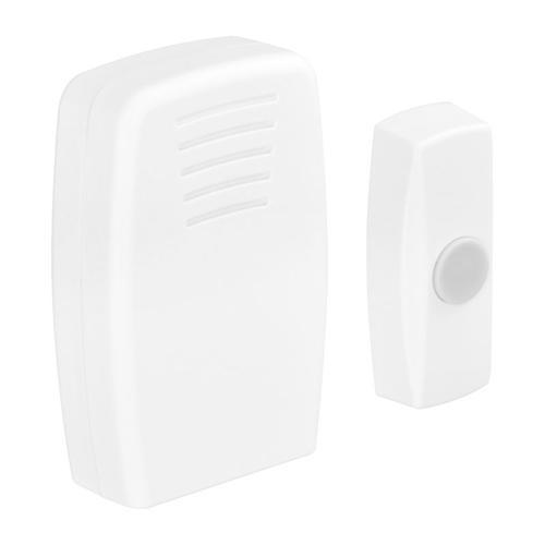 Masterplug Basic Wireless 30m Portable Doorbell + Push Button - White