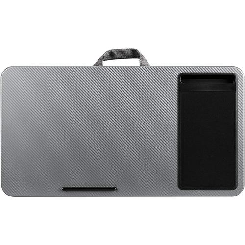 Multi Purpose Home Office Lap Desk with Mouse Pad and Phone Holder - Silver Carbon