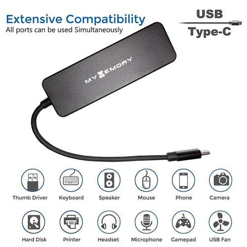 MyMemory Type-C 4-Port USB 3.0 Hub - Black