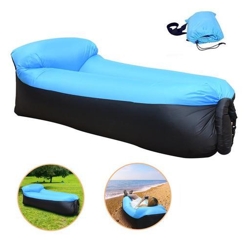 Inflatable Lounger Portable Air Sofa - Black-Blue