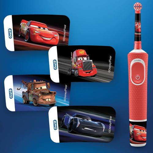 Oral-B Kids Electric Toothbrush Disney Cars Rechargeable + 4 Stickers