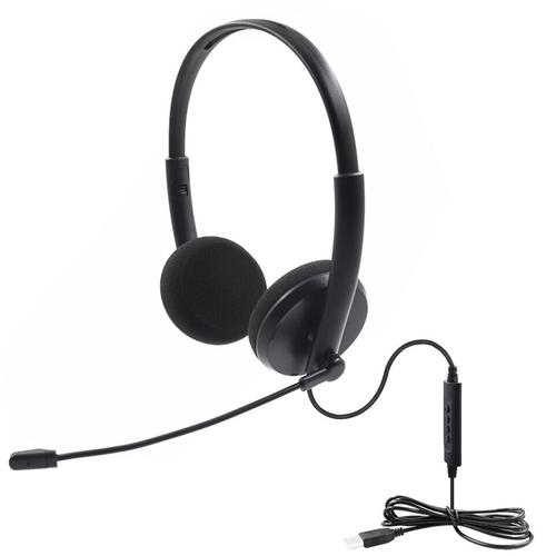 Overhead PC Headphones USB with Mic - Black