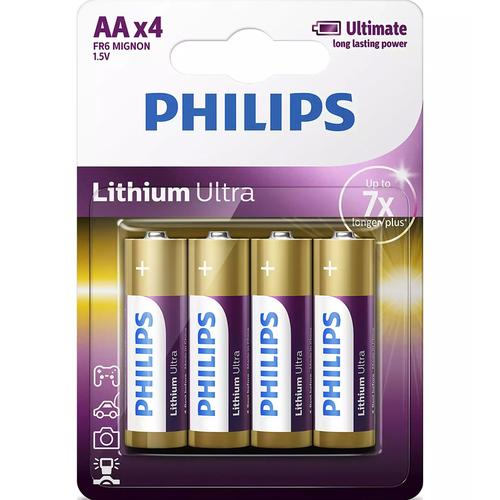 Philips Lithium Ultra AA Batteries - 4 Pack