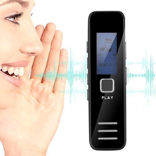 Tragbarer digitaler Audio-Sprachrekorder LCD - Schwarz
