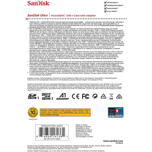 SanDisk 16GB Ultra Micro SD Card (SDHC) UHS-I A1 + Adapter - 98MB/s