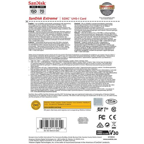 SanDisk 128 GB Extreme V30 SD-Karte (SDXC) UHS-I U3 - 150 MB/s