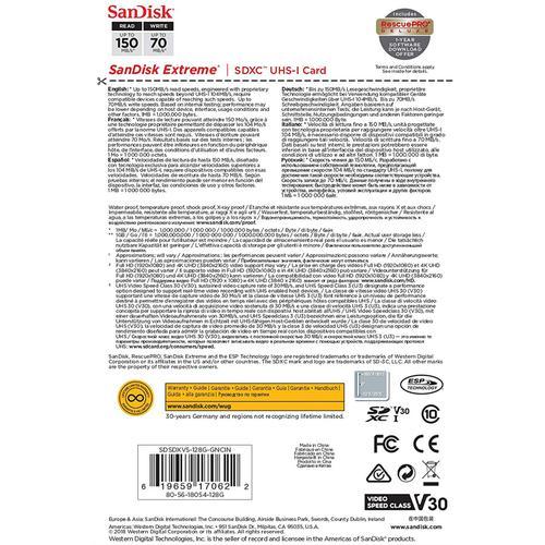 SanDisk 128GB Extreme V30 SD Card (SDXC) UHS-I U3  - 150MB/s