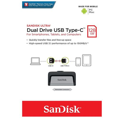 SanDisk 128 GB Dual USB-C 3.1 Flash-Laufwerk - 150 MB / s