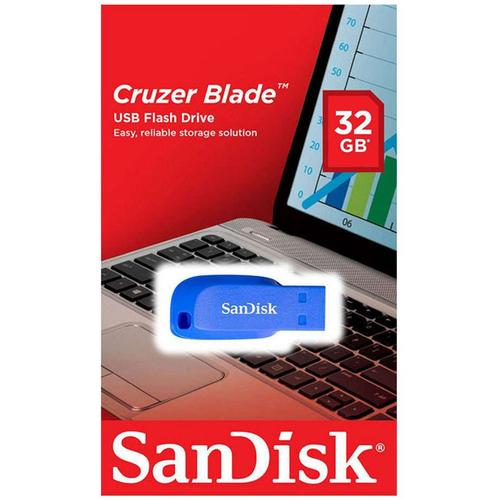 SanDisk 32GB Cruzer Blade USB-Stick - Electric Blue