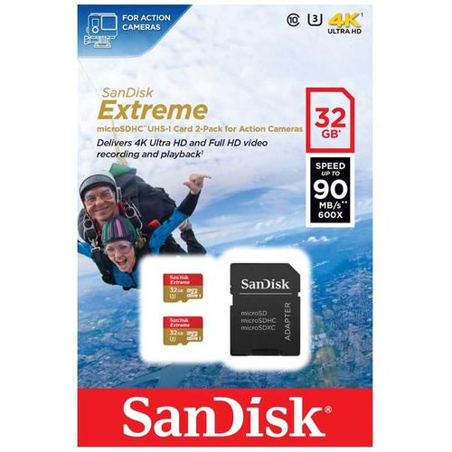 SanDisk 32GB Extreme Micro SD Card (SDHC) UHS-I U3 + Adapter - 90MB/s - 2 Pack