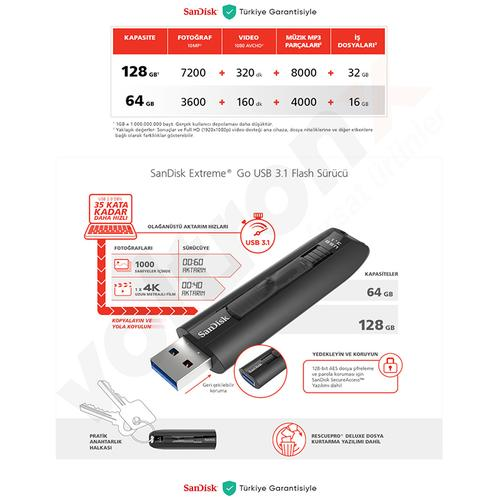 SanDisk 128GB Extreme GO USB 3.1 Solid State Flash Drive - 200MB/s