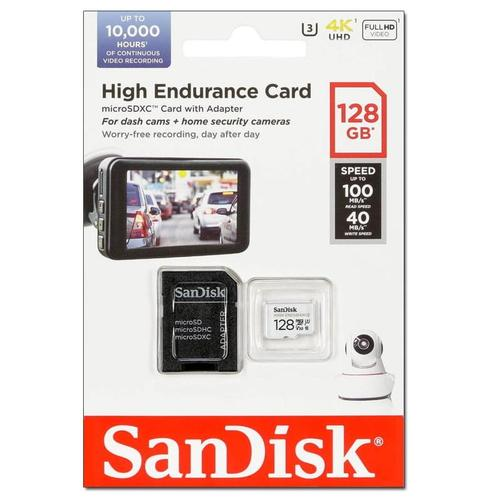SanDisk 128GB High Endurance Micro SD Card (SDXC) + Adapter - 100MB/s