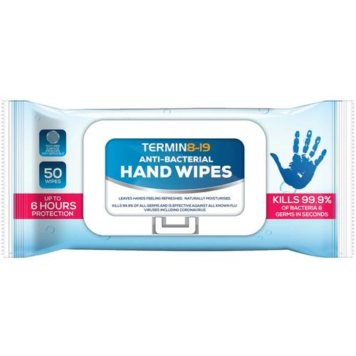 Termin8-19 Anti Bacterial Wipes 75% Alcohol 50 Wipes - 5 Pack